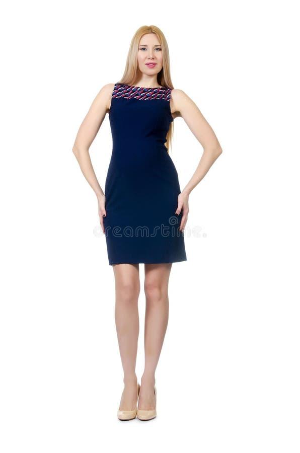Mooie zwangere geïsoleerde vrouw in blauwe kleding stock foto
