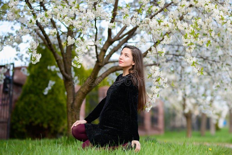 Mooie zwangere meisjeszitting op het groene gras Portret van een gelukkig jong zwanger model met een zachte glimlach Aanstaande m stock foto's