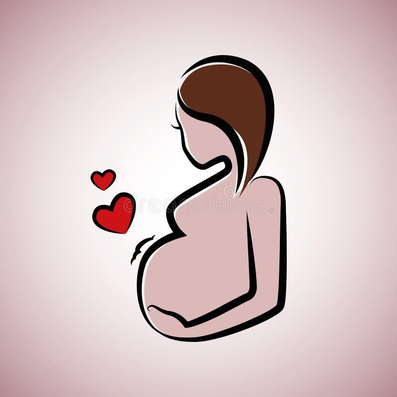 Mooie zwangere vrouw met bruin haar royalty-vrije illustratie