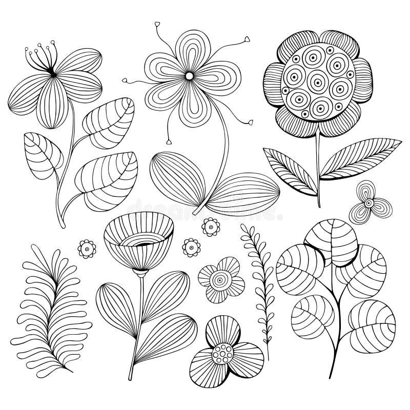 Mooie zwart-wit die Bloemen met vogel worden geplaatst Vector illustratie royalty-vrije illustratie