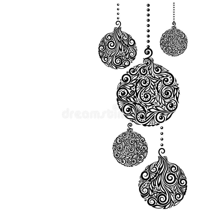 Mooie zwart-wit Zwart-witte Kerstmisachtergrond met Kerstmisballen het Hangen stock illustratie
