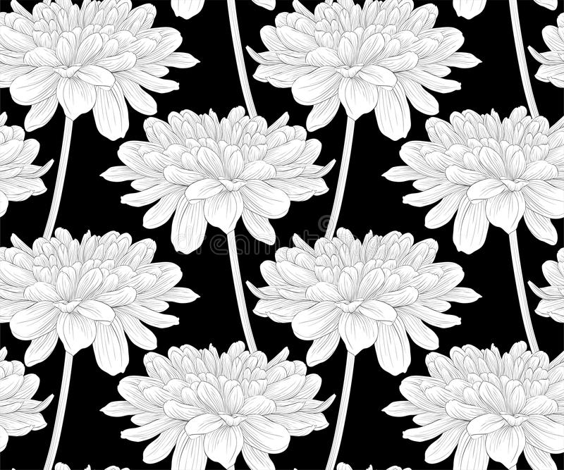 Mooie zwart-wit, zwart-witte naadloze achtergrond met bloemendahlia met een stam vector illustratie