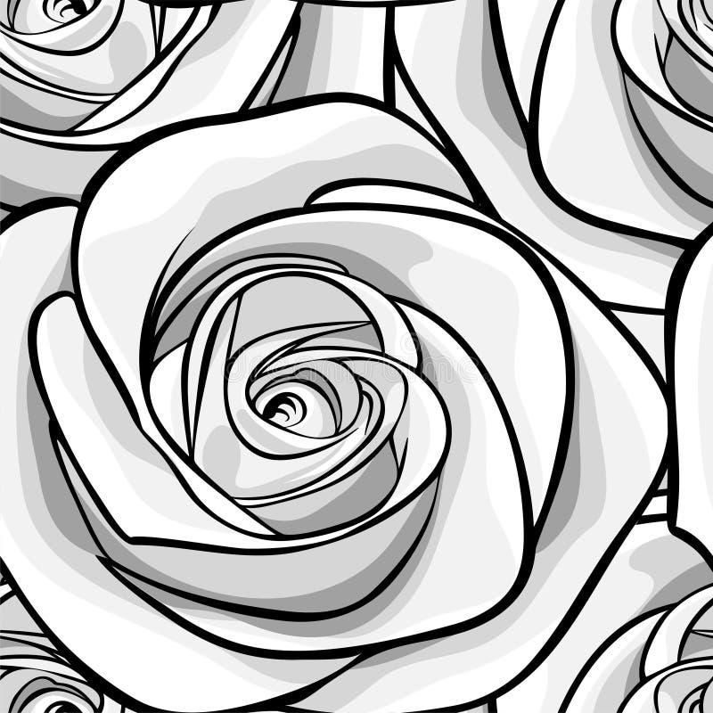 Mooie zwart-wit, zwart-witte naadloze achtergrond met rozen stock illustratie