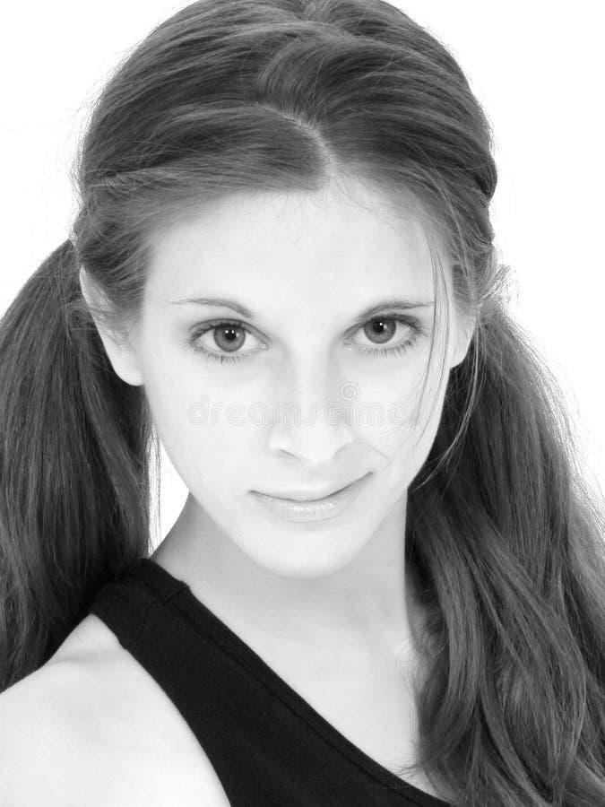 Mooie Zwart-witte Dichte Omhooggaand van de Tiener stock foto