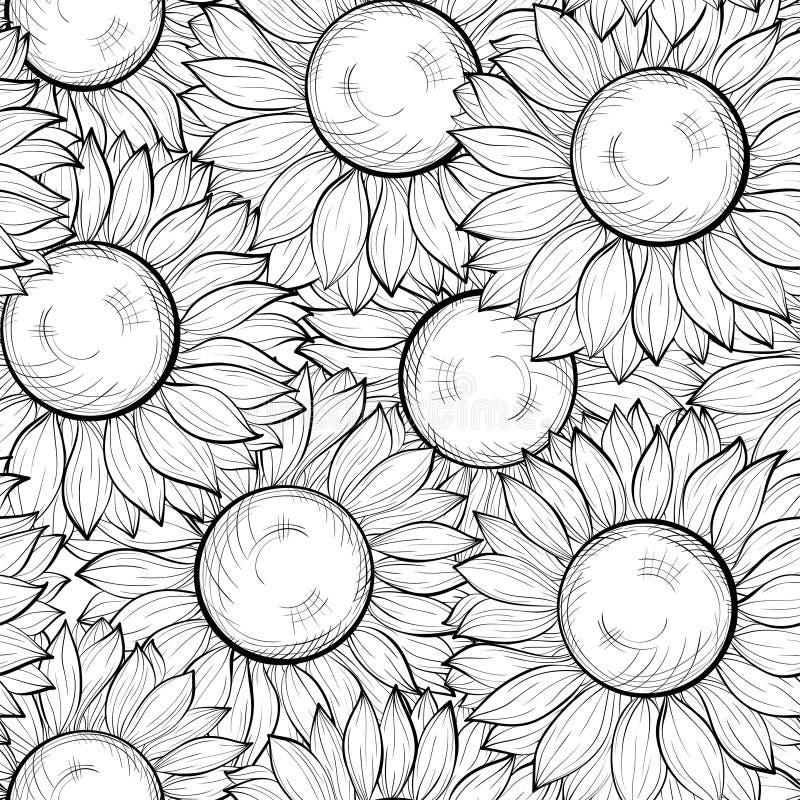 Mooie zwart-witte naadloze achtergrond met zonnebloemen. Hand-drawn contourlijnen en slagen vector illustratie