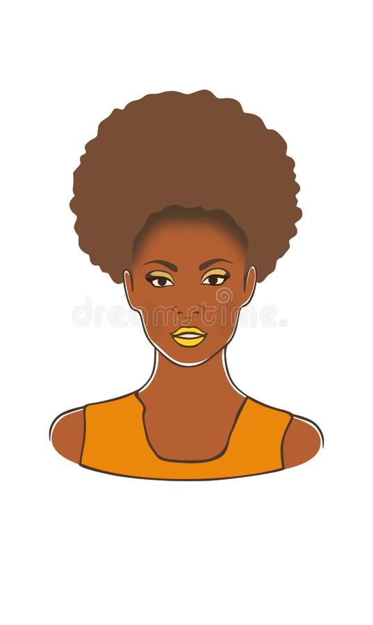 Mooie zwarte Afrikaanse Amerikaanse blondy mooie vrouw in de gele vectorillustratie van de kledingsmanier vector illustratie
