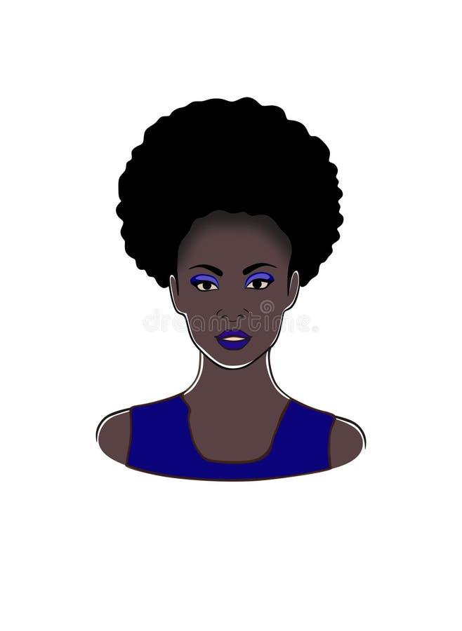 Mooie zwarte Afrikaanse Amerikaanse mooie vrouw in de blauwe vectorillustratie van de kledingsmanier vector illustratie