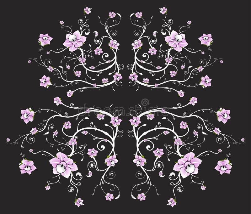 Mooie zwarte bloemenachtergrond royalty-vrije illustratie
