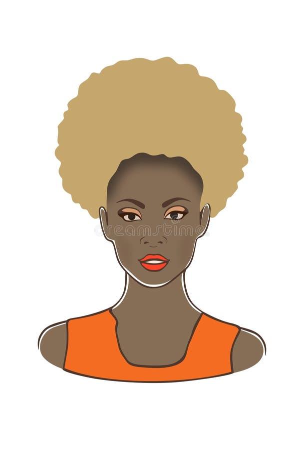 Mooie zwarte blonde Afrikaanse Amerikaanse mooie vrouw in de oranje vectorillustratie van de kledingsschoonheid vector illustratie