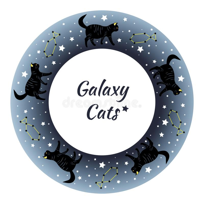 Mooie zwarte katten die door de sterrige hemel wandelen vector illustratie