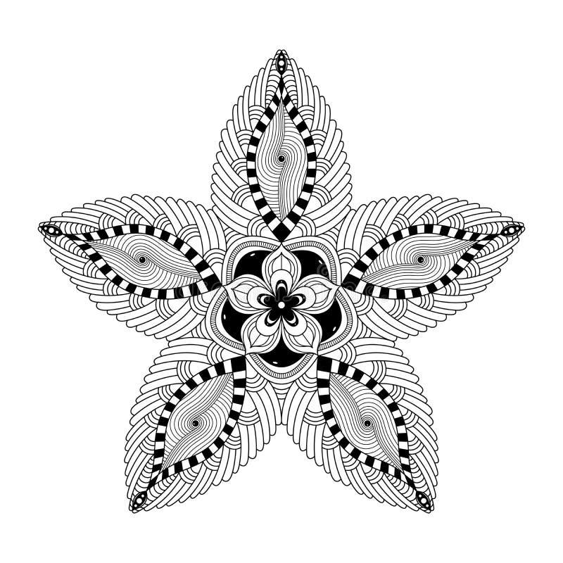 Mooie Zwarte Mandala stock illustratie