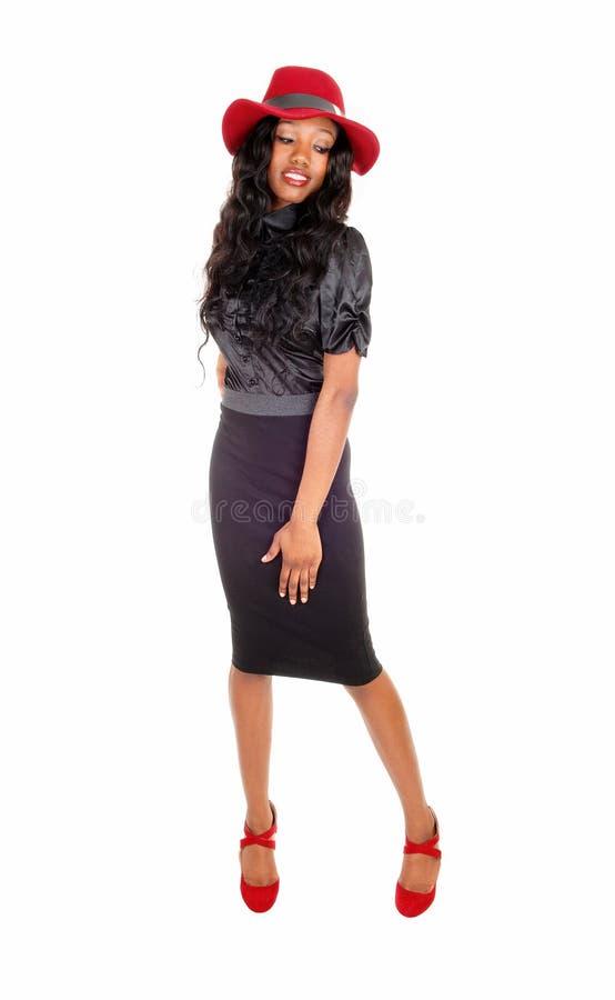 Mooie zwarte meisje status royalty-vrije stock foto's
