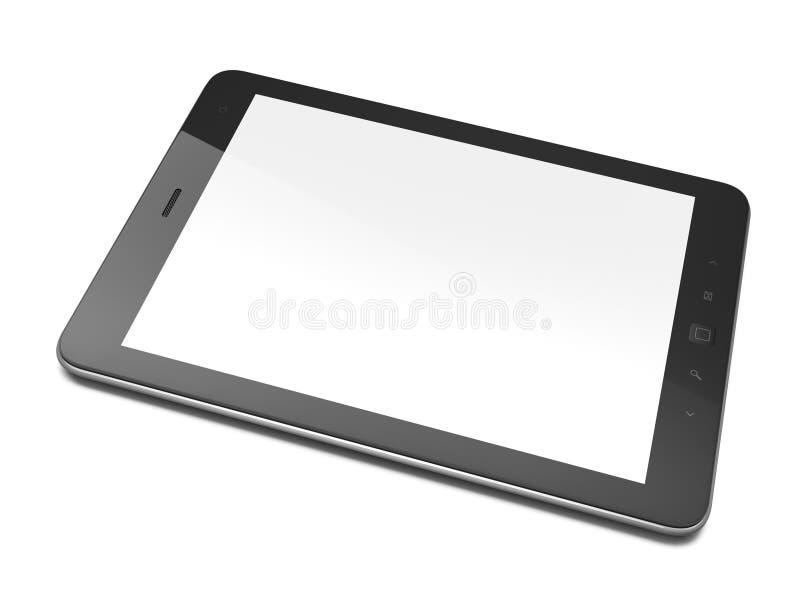 Mooie zwarte tabletPC op witte achtergrond stock illustratie