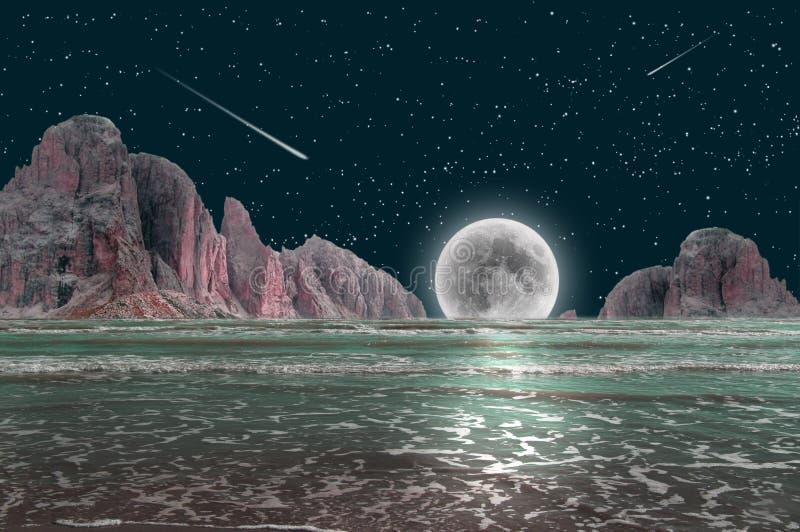 Moolight nattlandskap arkivbilder