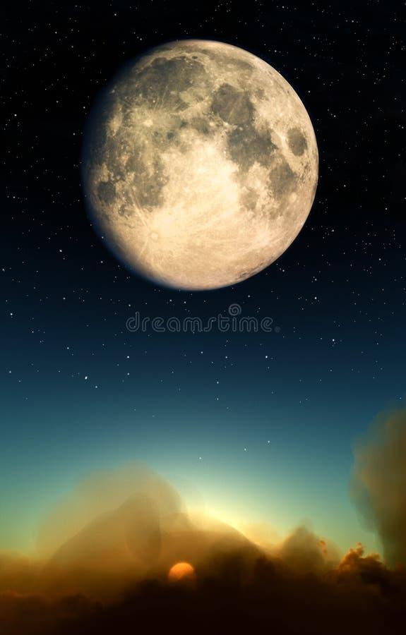 Moon över oklarheter stock illustrationer