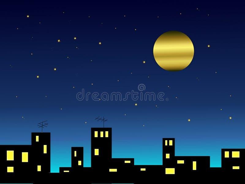 Moon över townen fotografering för bildbyråer