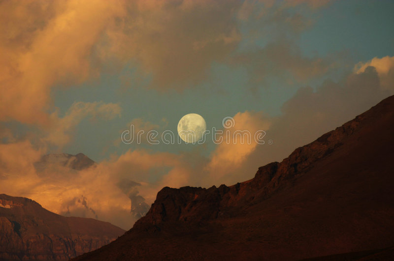 Moon. In cordillera de los andes chile royalty free stock photo