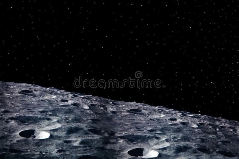 Moon 2. A simple background of the moon surface and stars at night in the sky of our own universe royalty free stock photos