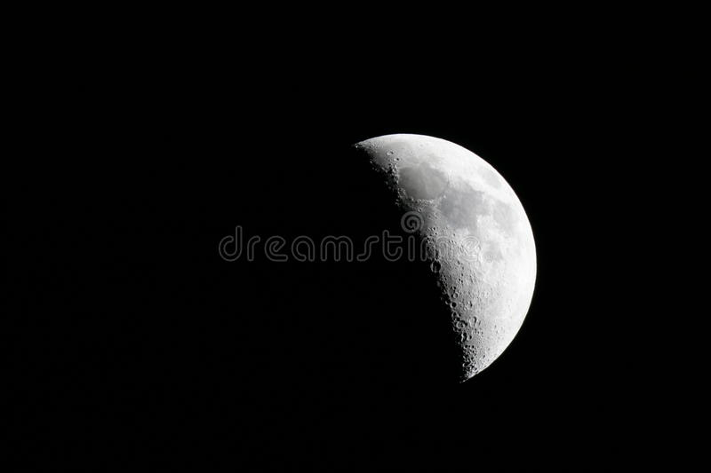 Moon. The moon on the dark night sky - detailed view taked via 200F6 telescope - reflector stock images