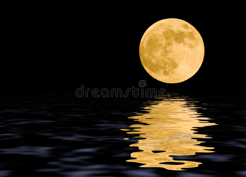 The moon. Moon at midnight with some reflections in the water