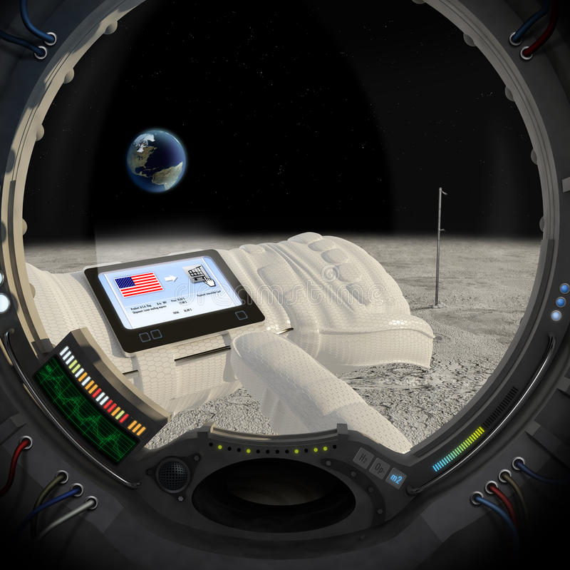 Moon 40 years later. An astronaut on the moon buys the flag of USA with e-commerce
