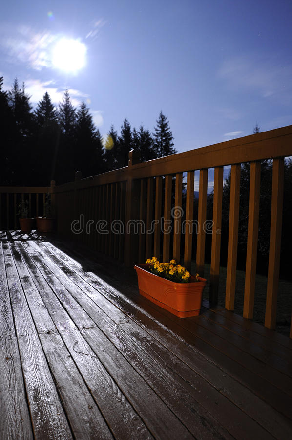 Moon Above Deck stock photography