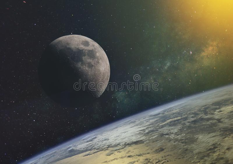the moon against the milky way and the rays of the sun in the infinite space of the universe in orbit of the earth. Elements of th royalty free illustration