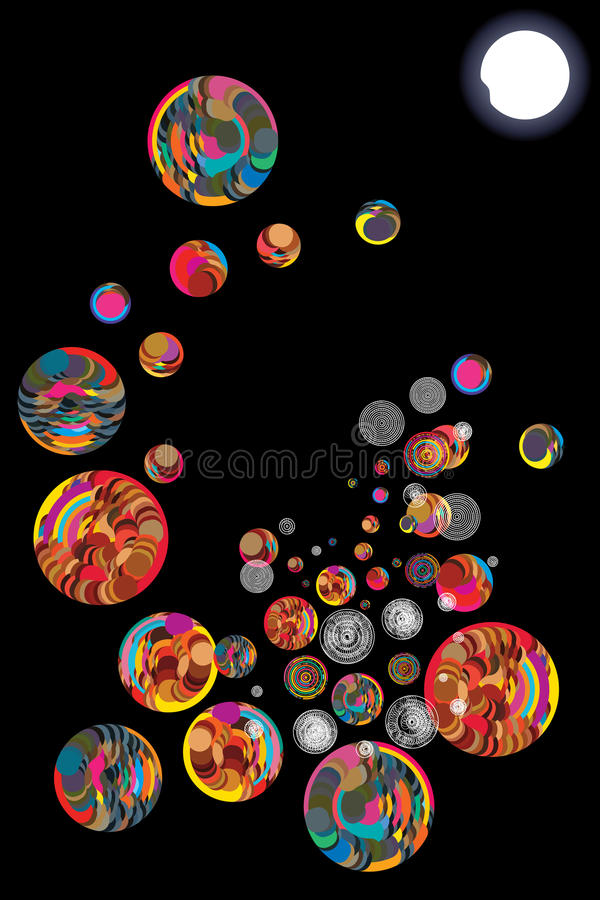 Moon alone circle ball decoration. This illustration is design stylish abstract alone moon, not star, not cloud with colorful circle ball unknown decoration in vector illustration