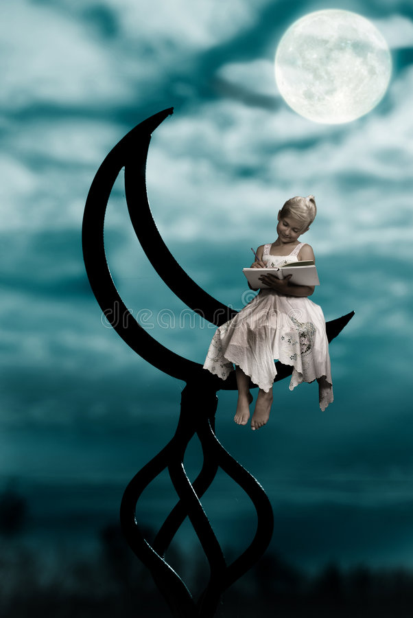 Free Moon And Girl Stock Photos - 8587343