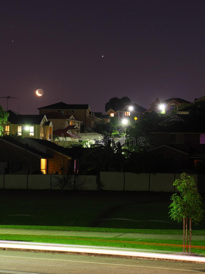 Free Moon And Stars Night Scene Residential Area Royalty Free Stock Photo - 30464775