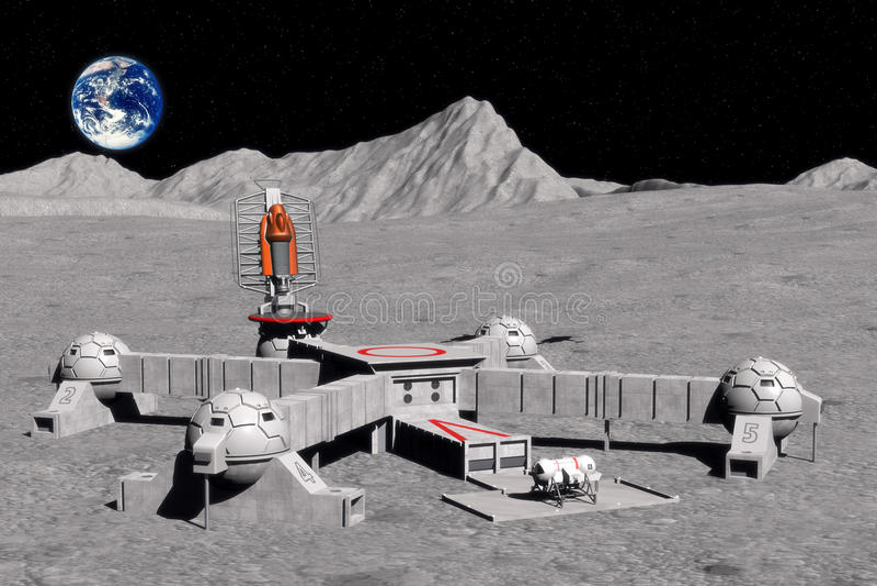 Moon base vector illustration