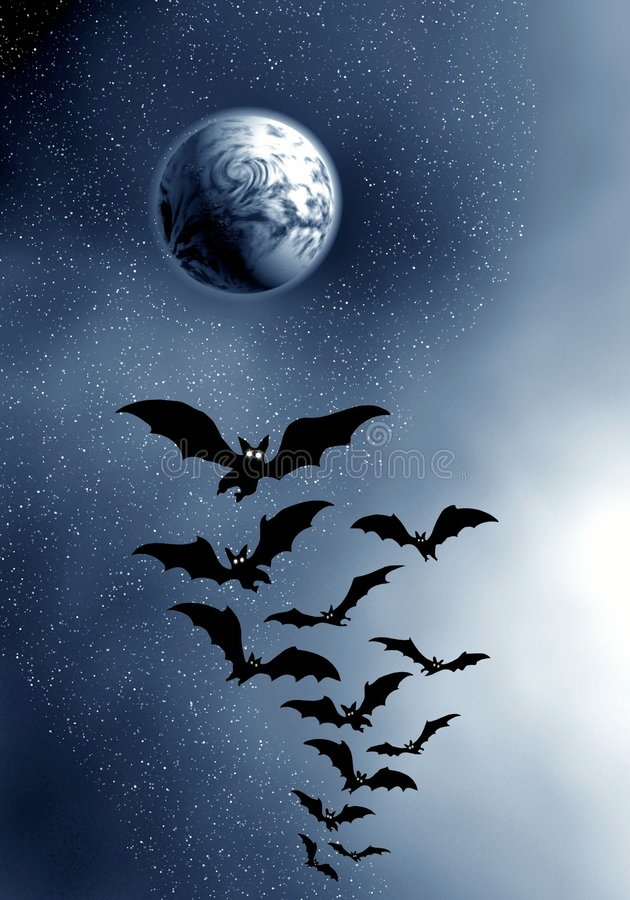 Moon and bats. stock photography