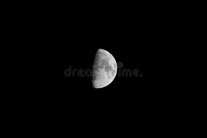 Moon. Beautiful bright moon in the black night sky stock image