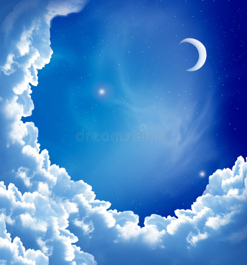Moon and beautiful clouds. Night sky with fantasy beautiful clouds and moon