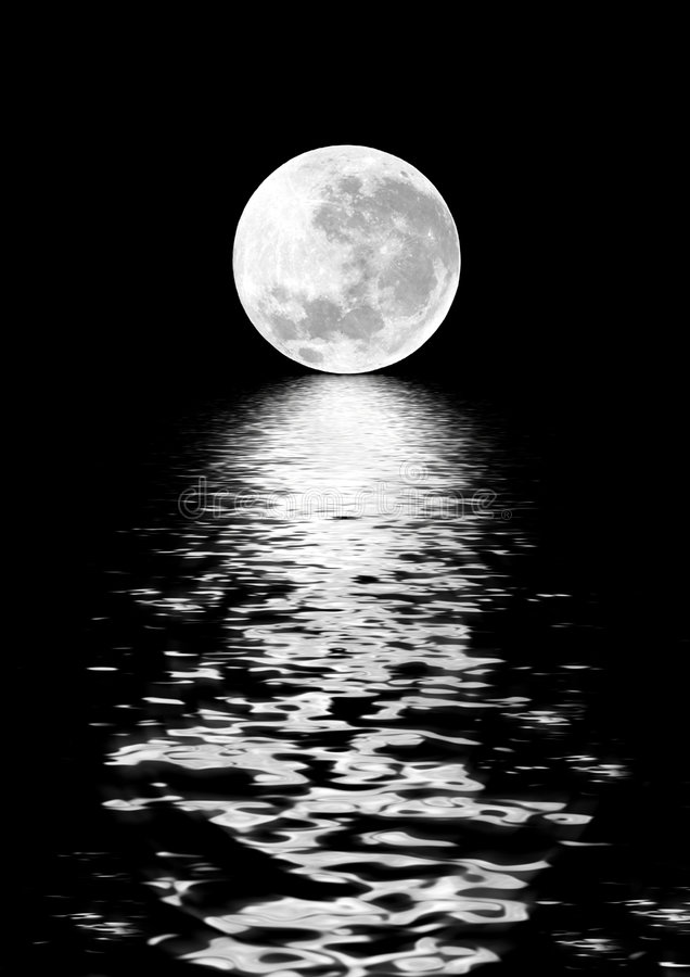 Moon Beauty. Full moon on the Spring Equinox, with digitally enhanced reflection over water and set against a black background stock illustration