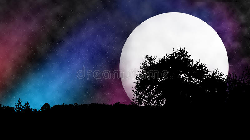 Moon behind tree royalty free illustration