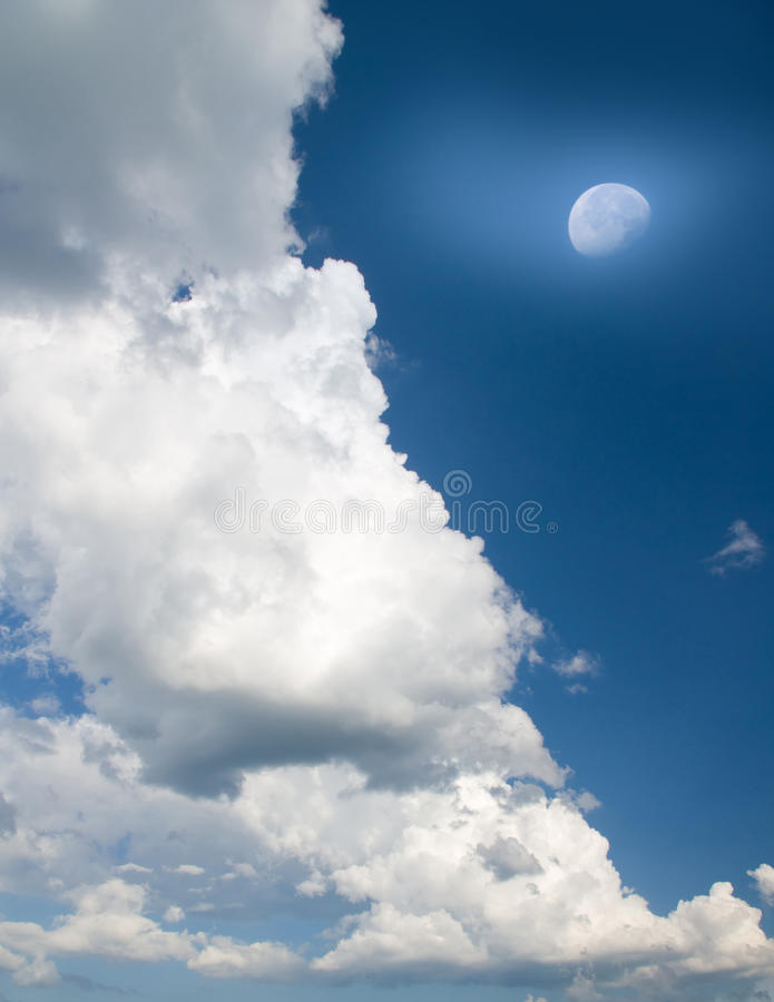 Moon in blue sky. royalty free stock photography