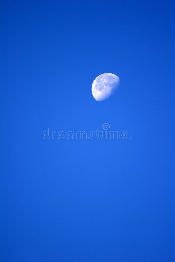 Download Moon in blue sky stock photo. Image of part, blue, space - 4236670