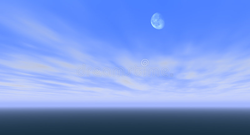 Moon in blue sky stock images