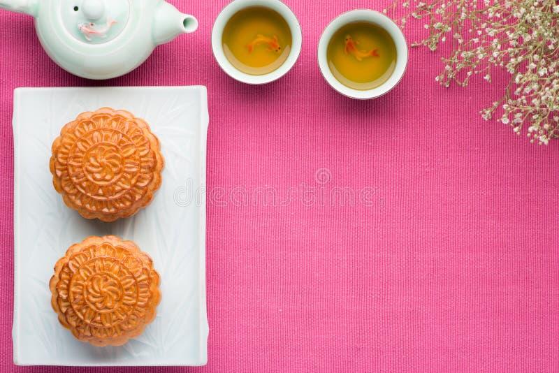 Moon cake, Chinese Mid-autumn festival dessert stock photo