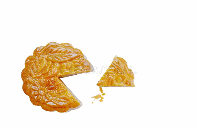 Moon cake Chinese tradition dessert stuffed mashed durian slice for piece on white background royalty free stock images