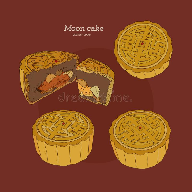Moon Cake set, hand draw sketch vector. Chinese Cuisine, Moon Cake or Chinese Round Pastry Filled with Red Bean or Lotus Seed Paste for Chinese Mid-Autumn royalty free illustration