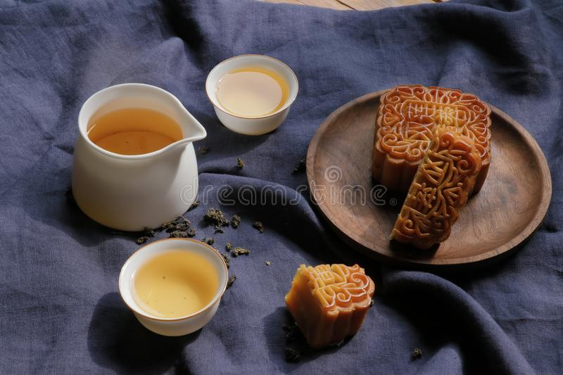 Moon cake and tea for mid-autumn festival royalty free stock image