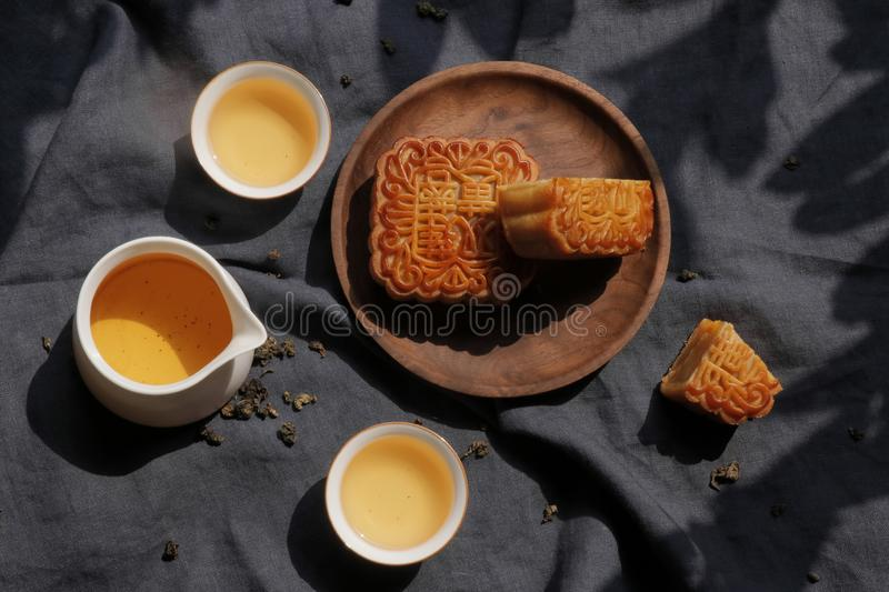 Moon cake and tea for mid-autumn festival royalty free stock photo
