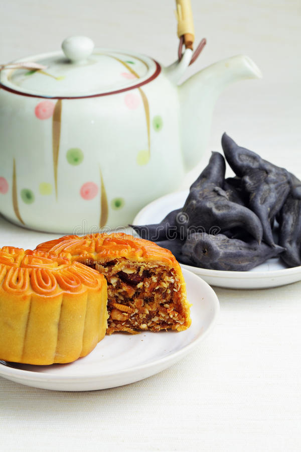 Moon Cake With Tea And Water Caltrop Stock Photo