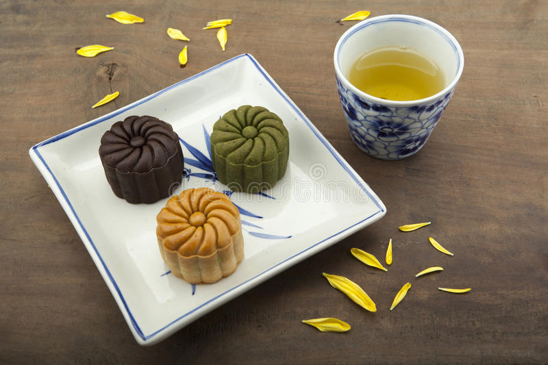 Moon cake traditional cake of Vietnamese - Chinese mid autumn festival food royalty free stock photos