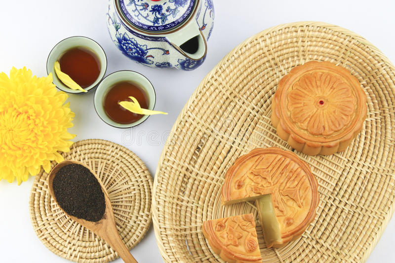 Moon Cakes And Tea Royalty Free Stock Photo