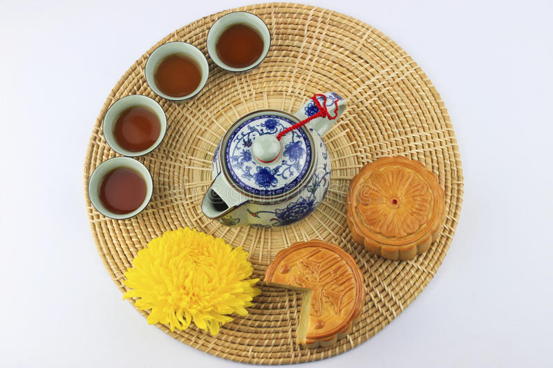 Download Moon Cakes And Tea On Wicker Tray Stock Image - Image of moon, baking: 26085417