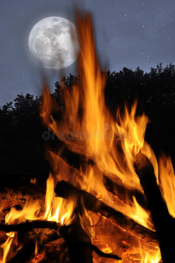 Download The moon and the campfire stock photo. Image of trees - 25185928