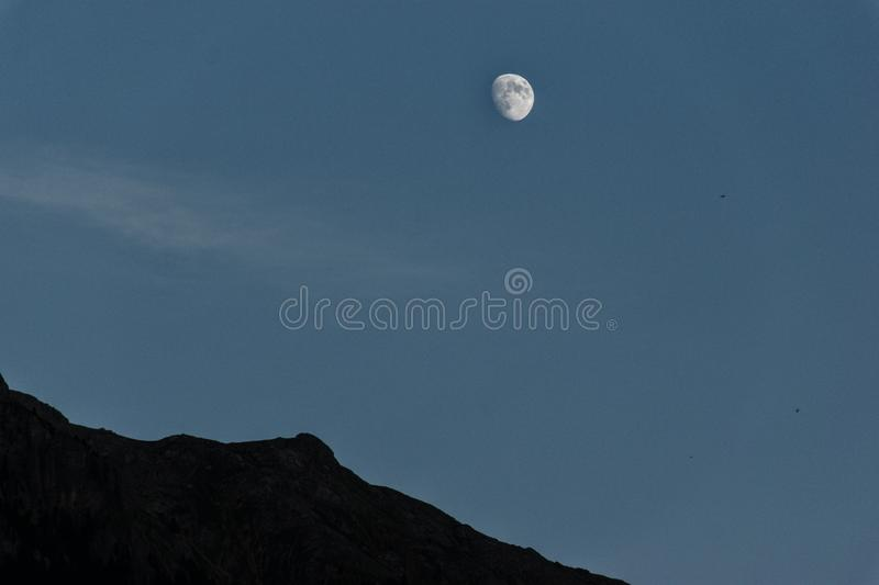 The moon on Cima Undici stock images